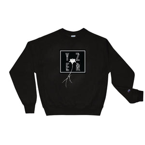 Front View of the Black Square Off Floral Perspective Sweatshirt