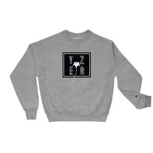 Front View of the Oxford Grey Heather Square Off Floral Perspective Sweatshirt