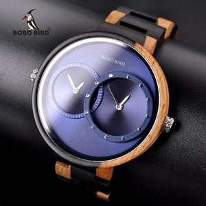 Close Up Case Face View of Blue BOBO Bird Dual Time Zone Wooden Watch