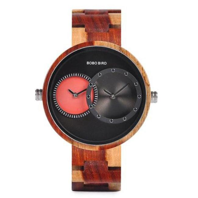 Red BOBO Bird Dual Time Zone Wooden Watch