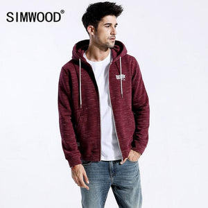 Model Featuring Front View of Red SIMWOOD Denim & Co Zip Up Hoodie