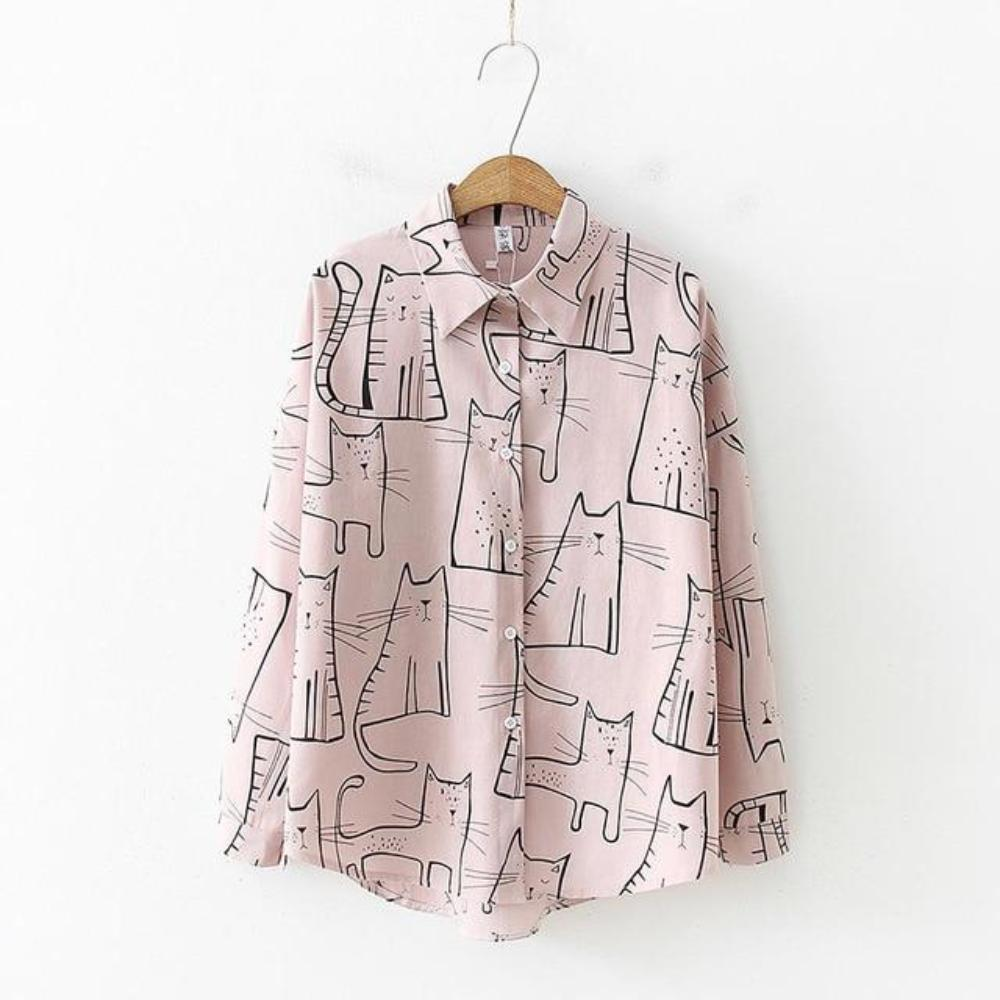 Pink Collared Blouse Featuring a Stylish Cat Print