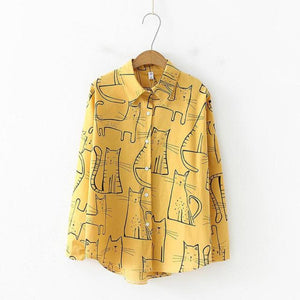 Yellow Collared Blouse Featuring a Stylish Cat Print