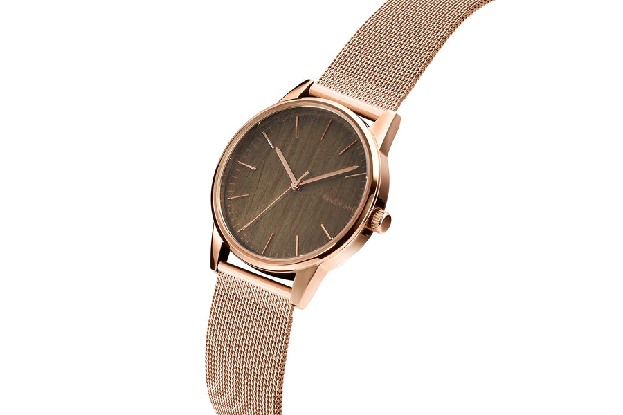 Mary Mesh rosegold Armbanduhr Holz Walnuss TAKE A SHOT