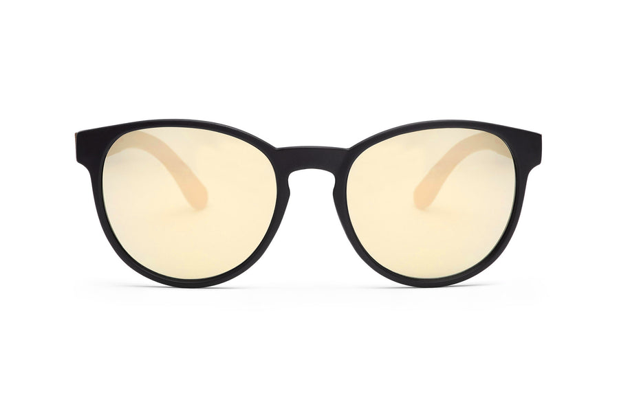 The Knave of Hearts Holz Sonnenbrille gold verspiegelt matt schwarz TAKE A SHOT Seite