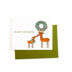 Holiday Deer With Wreath