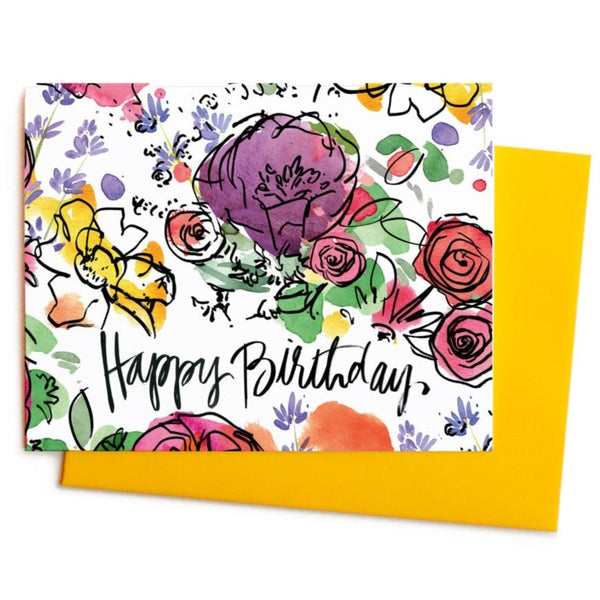 Watercolor Happy Birthday Flowers