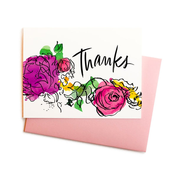 Thanks Watercolor Flowers