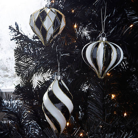 Monochrome Harlequin Glass Baubles