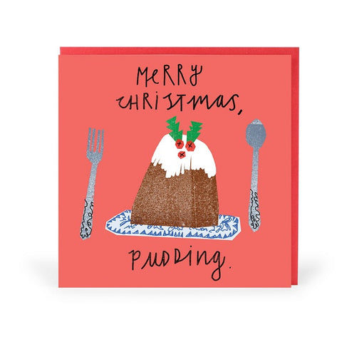 Merry Christmas Pudding Greeting Card