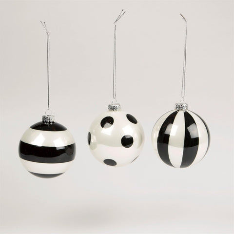 Monochrome Striped & Polka Dot Bauble
