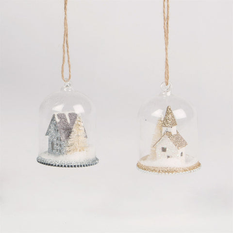 Glitter House Snow Globe Dome Bauble