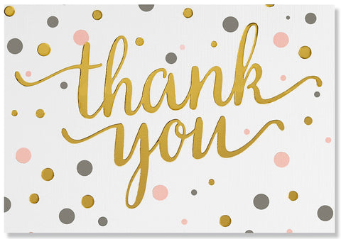 Pink & Gold Dots Thank You Note Greeting Card