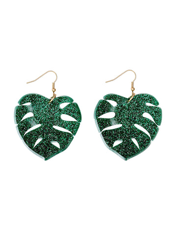 Tropical Leaves Earrings - Gitter Green