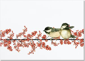 Winterberry & Chickadees Deluxe Christmas Cards