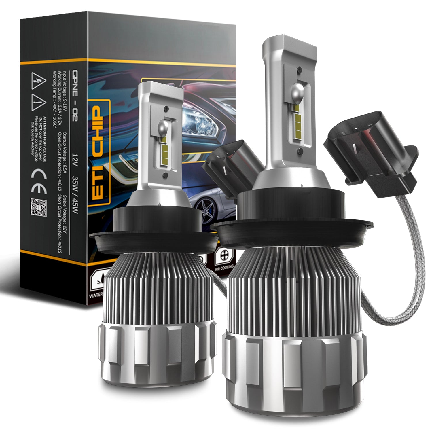 H13/9008 2-Sided LED Headlight Conversion Kit with Fan Base