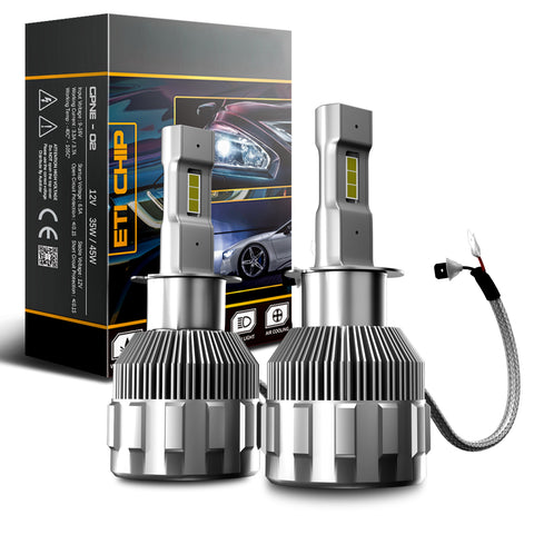 H1 2-Sided LED Headlight Conversion Kit with Fan Base