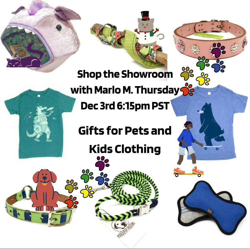 Episode 5 Link List: Shop the Showroom with Marlo M - Dec. 3, 2020 - Gifts for Pets and Kids Clothing
