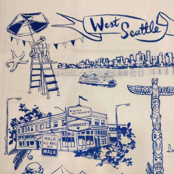 West Seattle Tea Towel by Oliotto of Seattle, WA