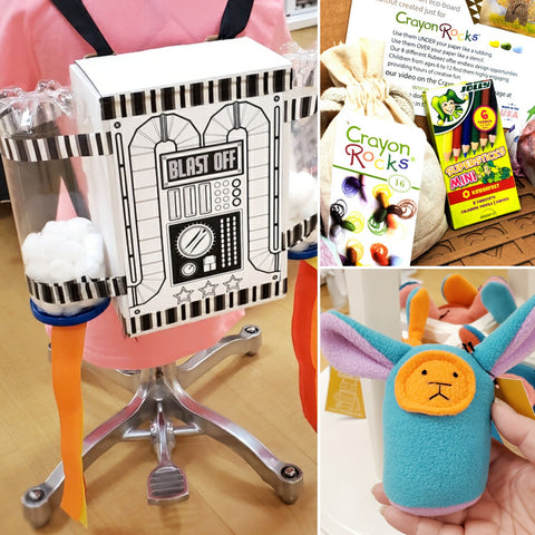 Jet Pack DIY Kit by Tomato-Tomato, Crayon Rocks with Rubeez texture plates, and Turquoise Plush Rattle by Mr. Sogs