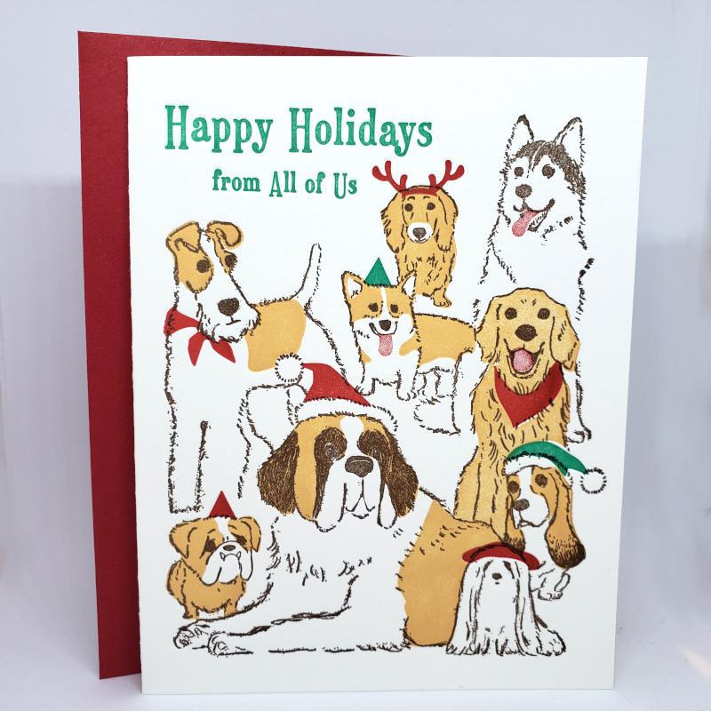 Set of 6 - Holiday Cards - Dogs Happy Holidays by Ilee Papergoods