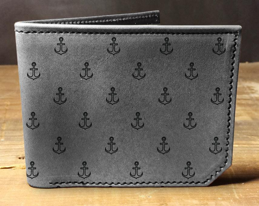 Wallet - Anchor Pattern (Grey) by Backerton