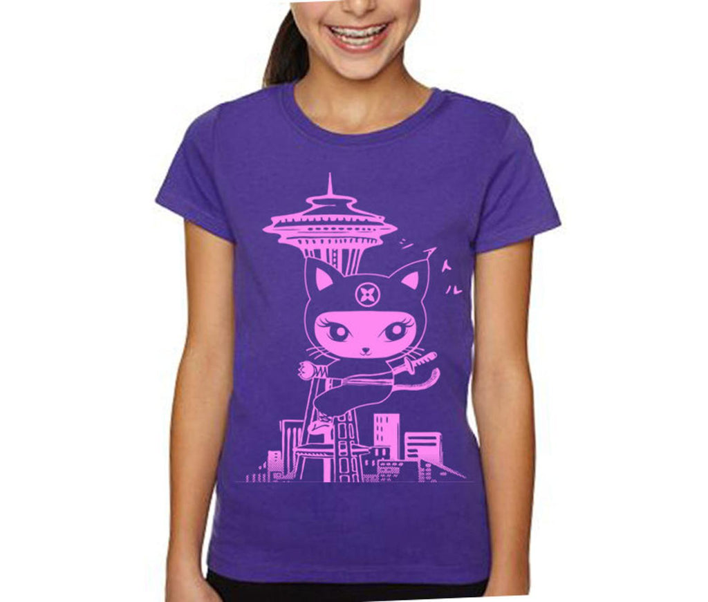 Kids Tee - Seattle Ninja Kitty Pink on Purple by Namu