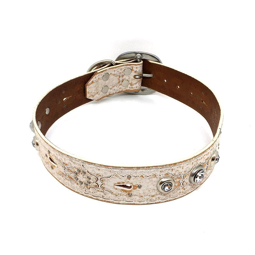 Dog Collar - Med/Lg Rustic White with Tooling and Gems by Greenbelts