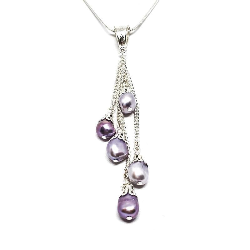 Necklace - Five drop lavender freshwater pearls Pendant Silver Plate chain by Tiny Aloha