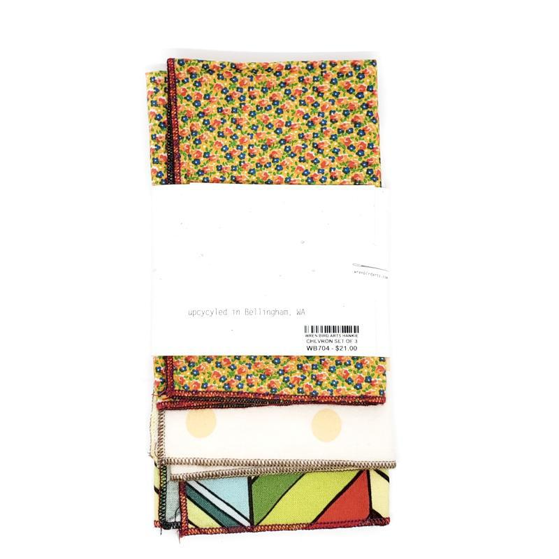 Set of 3 - Large Hankies - Chevrons, Dots, Flowers by Wren Bird Arts