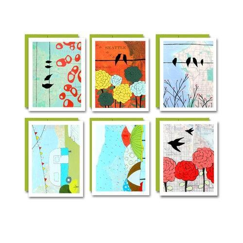 Card Set - 6 Assorted Seattle Cards - by Rachel Austin