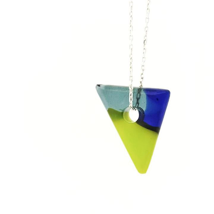 Necklace - Blue Green Small Single Triangle Necklace by Glass Elements