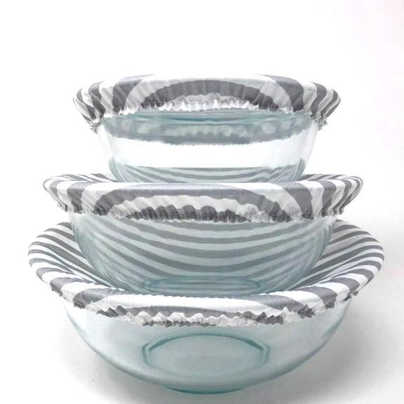 Bowl Covers - Gray Stripes Set of 3 by Semi-Sustainable Goods