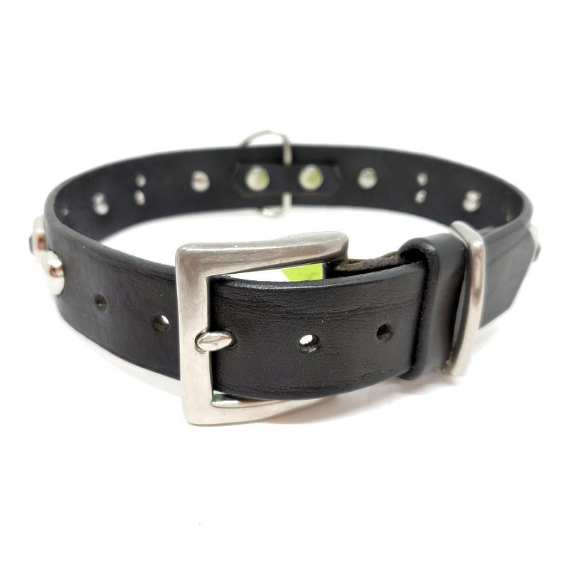 Dog Collar - Med/Lg Black with Silver Studs by Greenbelts