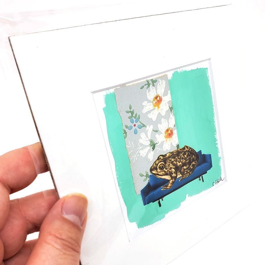 Collage (unframed) - 4x4 - Toad (6x6 mat) Creature Comforts by Christine Stoll Studio