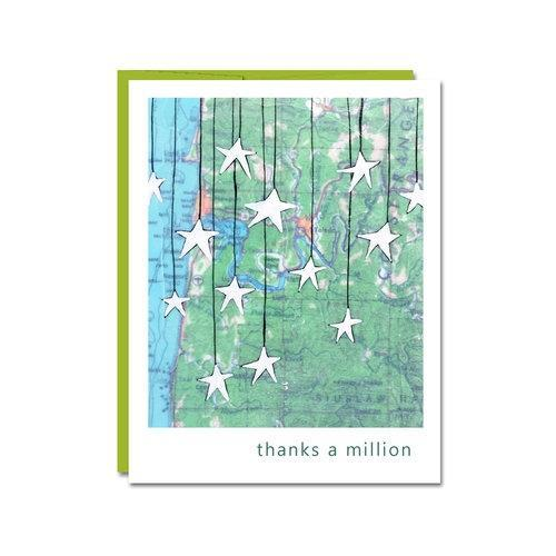 Card - Thank You - Thanks A Million by Rachel Austin Art