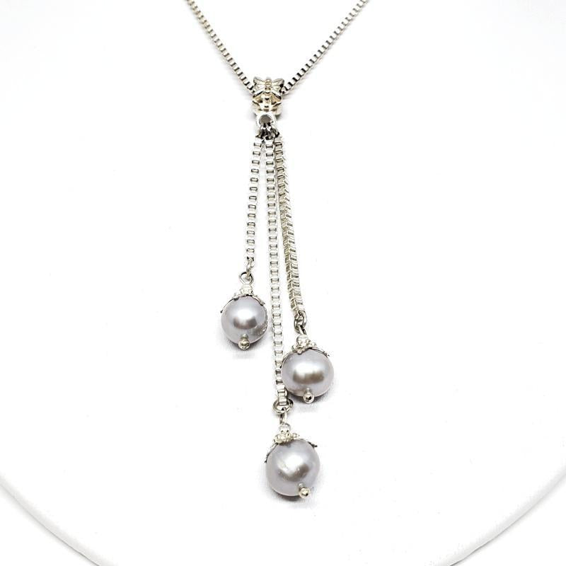 Necklaces - Triple drop grey freshwater pearls Pendant Sterling Silver Box chain by Tiny Aloha