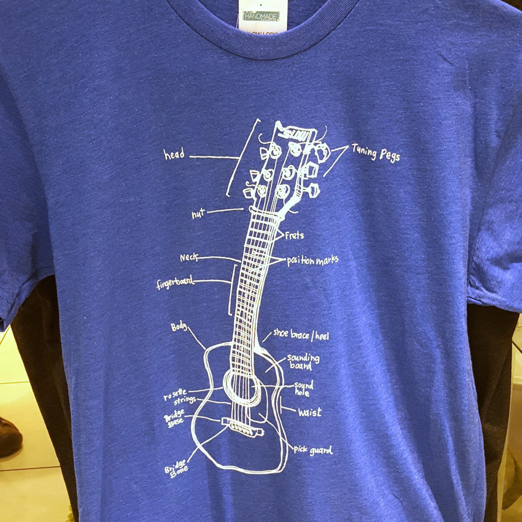 Adult GUITAR LESSONS(L) Royal Blue Crew Neck Tee by Slow Loris