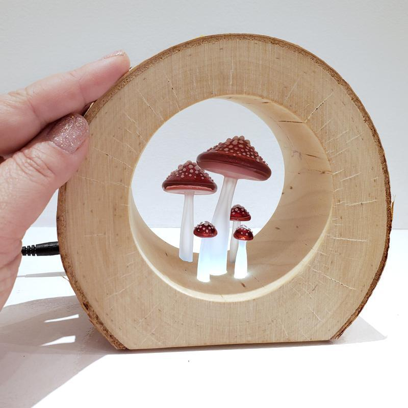 Lamp - Small Round Birch Night Light Red Mushrooms by Sage Studios