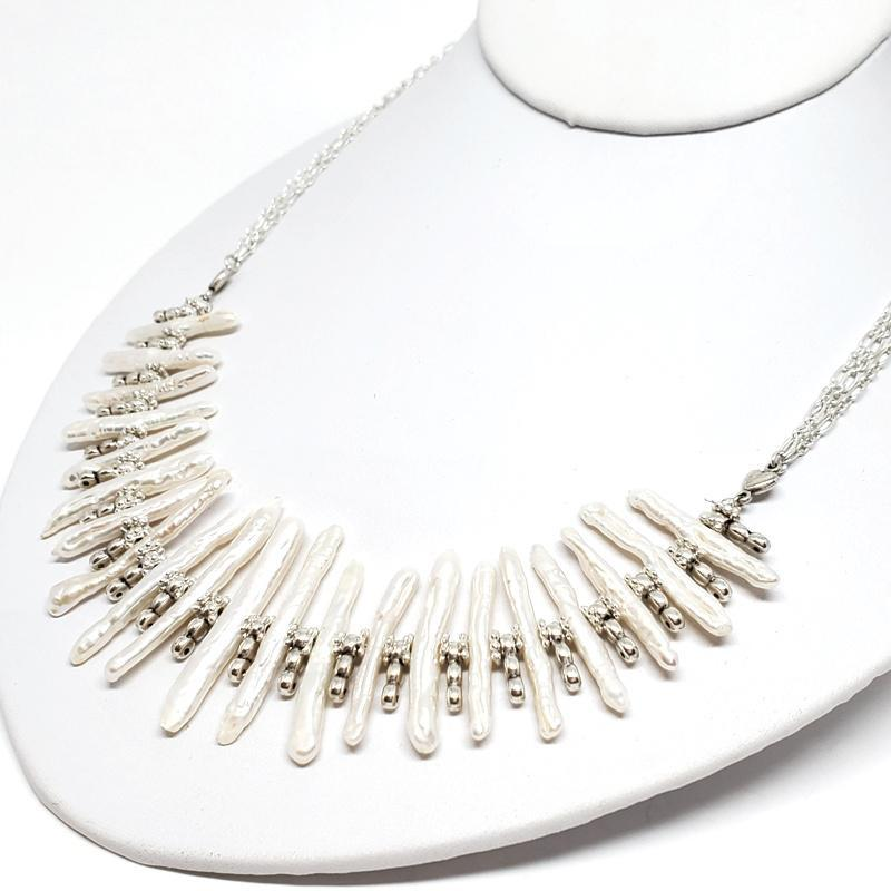 Necklace - Freshwater Stick Pearls Bib Silver Plate chain by Tiny Aloha