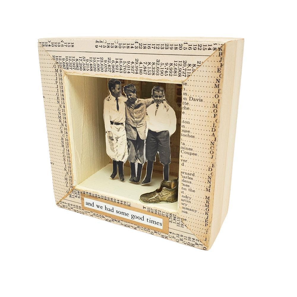 Shadowbox #7 - 4x4 - Thick as Thieves (shoe) Collage by Christine Stoll Studio