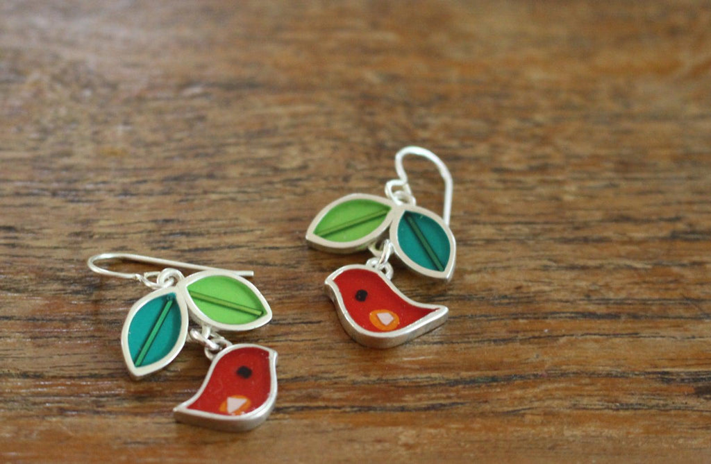 Earrings - Red Green Birds Leaf by Happy Art Studio