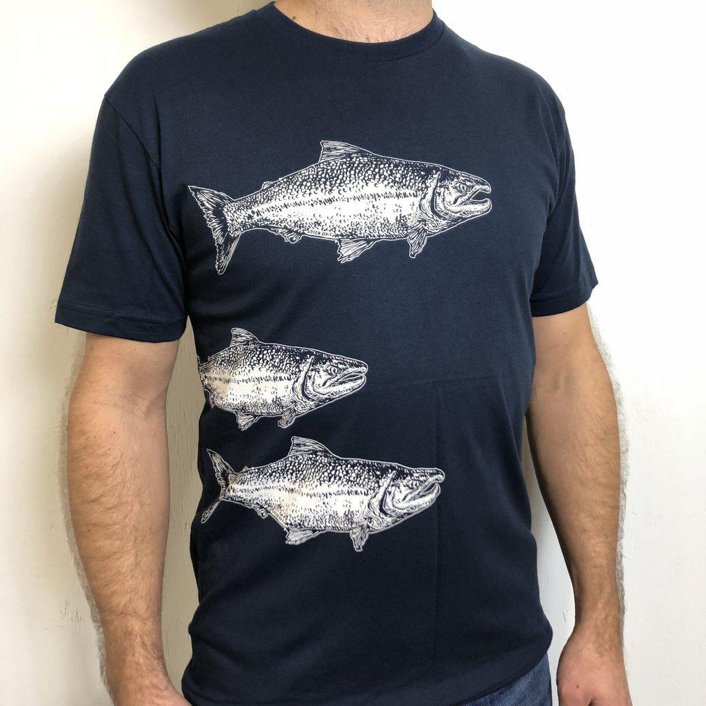 Adult SALMON(S) Navy White Tee by Slow Loris