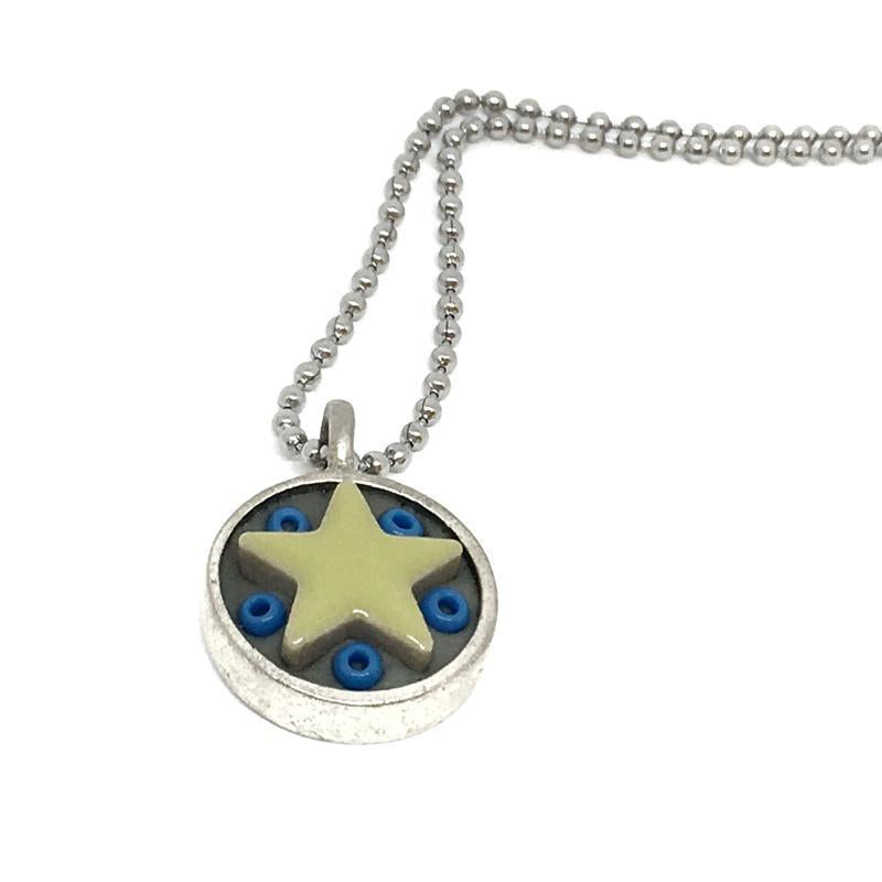 Necklace - Star Baby - Yellow Star Blue Beads by XV Studios