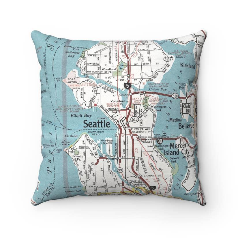 Pillow - Seattle Street Map by Daisy Mae Designs