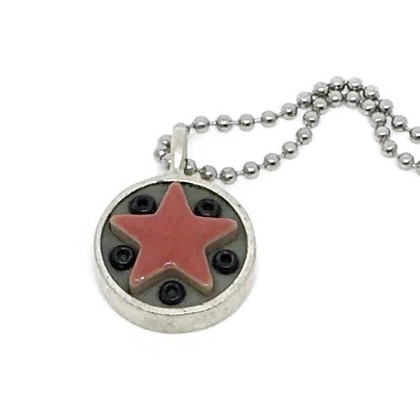 Necklace - Star Baby - Red Star Black Beads by XV Studios