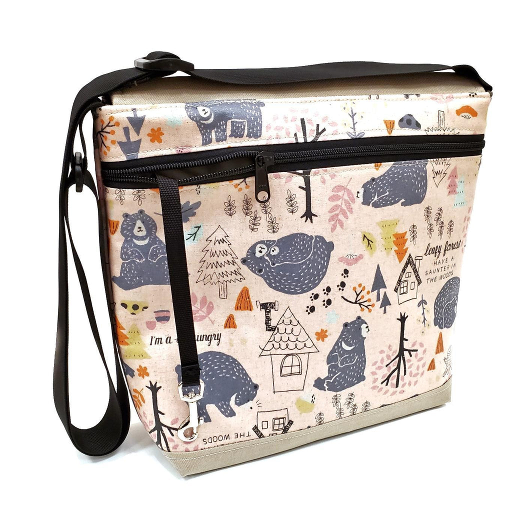 Tall Messenger Bag - Pink Hungry Bears - Reinforced by Laarni and Tita