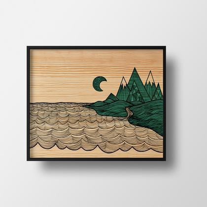 Art Print - Mountains Meet Sea 5x7 by Red Umbrella
