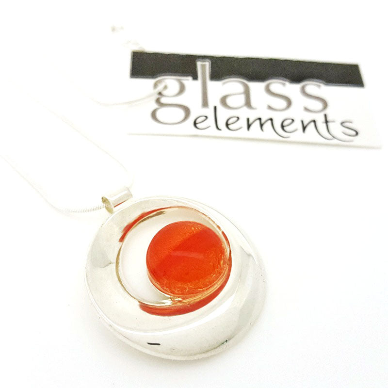 Necklace - Flame Orange Ribbon Necklace by Glass Elements