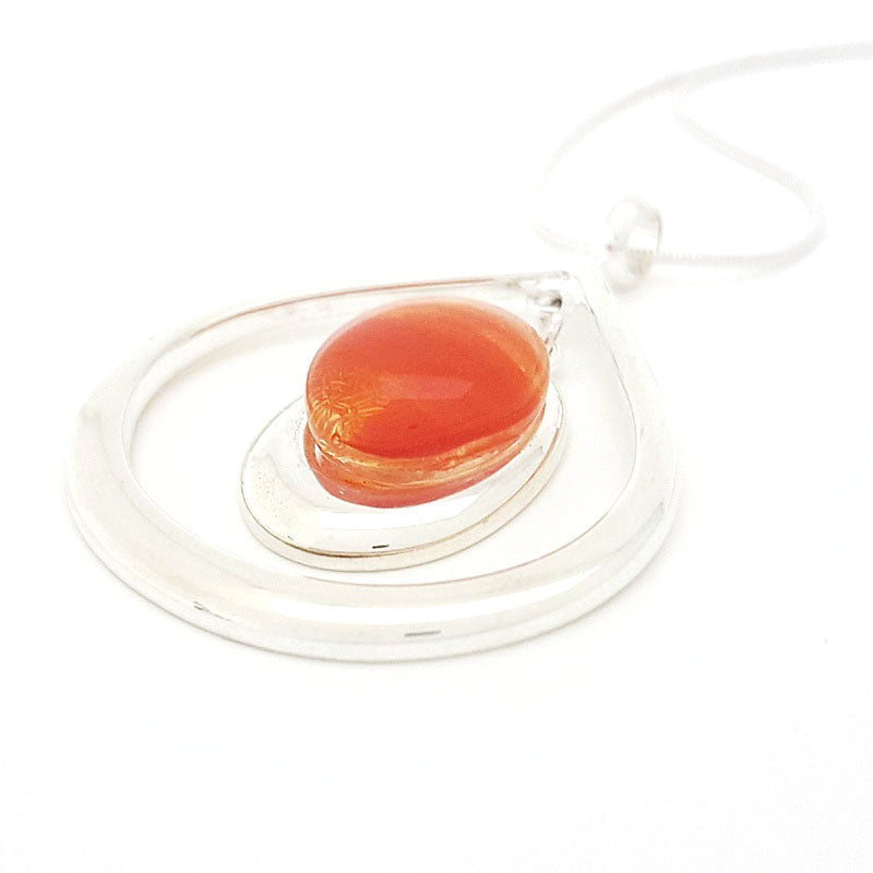 Necklace - Flame Orange Teardrop Pendant by Glass Elements